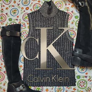 CK Ribbed Black & Silver Mock Sleeveless Sweater